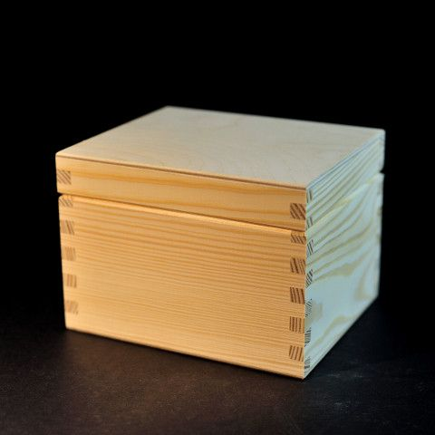Plain wooden box 14.8 x 12.5 x 10.5 cm